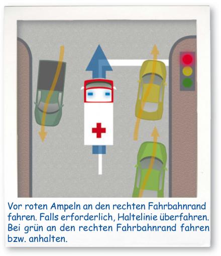 Rettungsgasse innertorts und an Ampelanlagen
